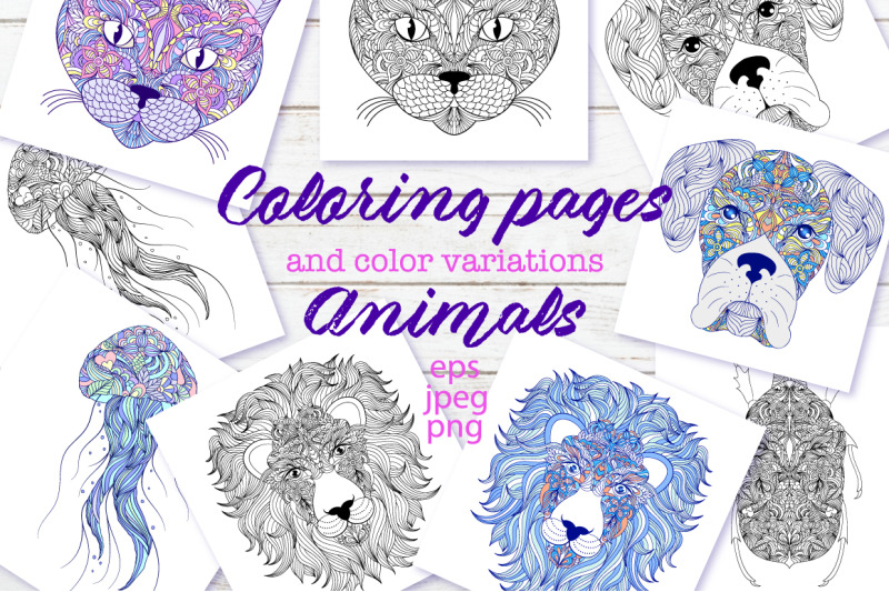 Animals Coloring Pages By Warmjuly Thehungryjpeg Com