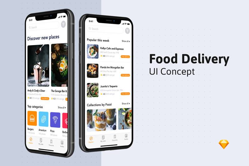 Fozzi - Food Delivery App UI Kit By hoangpts | TheHungryJPEG com