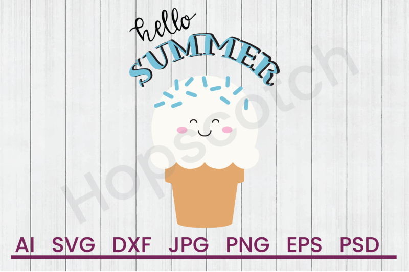 Hello Summer - SVG File, DXF File By Hopscotch Designs