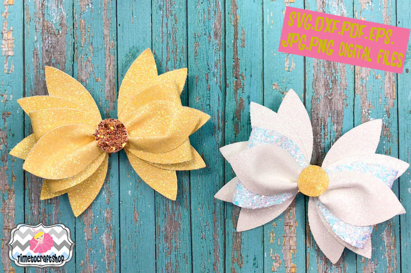 3d Daisy Hair Bow Template Svg Png Dxf Pdf Jpeg Eps By