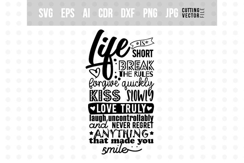 Life Is Short Vector Typography Design By Craftartshop
