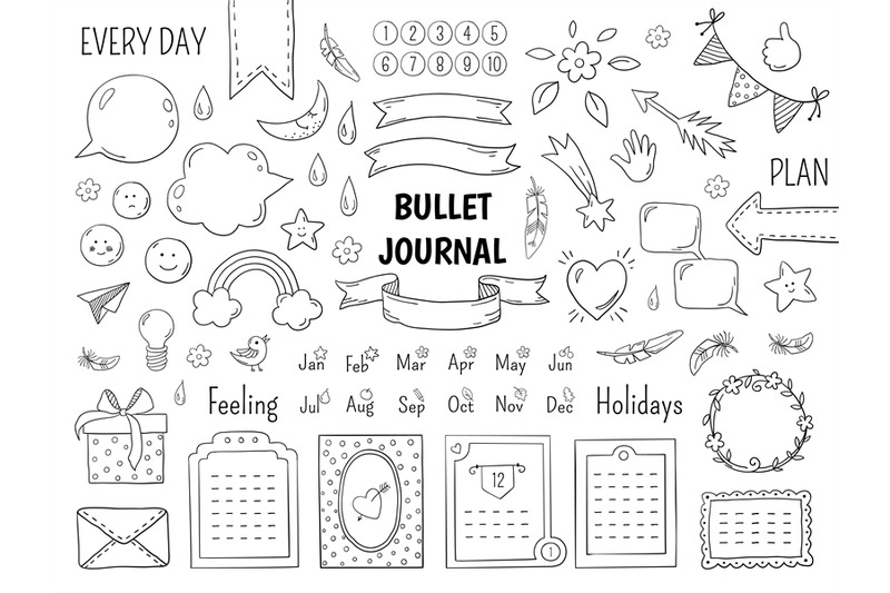 Notebook Doodle Bullet Hand Drawn Diary Frame Journal Linear