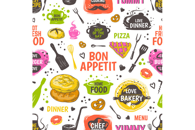 Doodle Food Pattern Menu Seamless Background Vector Hand Drawn