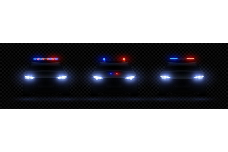 Realistic police headlights  Car glowing led light effect