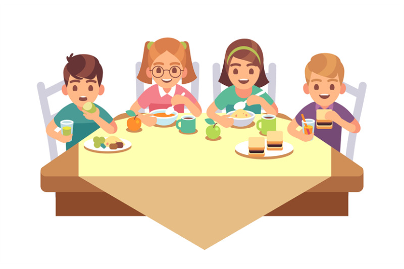 Kids Eat Together Children Eating Dinner Cafe Restaurant Happy