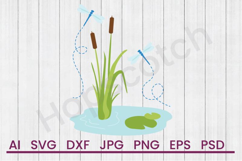 Cattails Dragonflies Svg File Dxf File By Hopscotch Designs