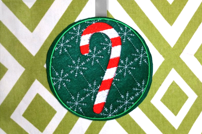 Candy Cane Christmas Ornament Ith Applique Embroidery By