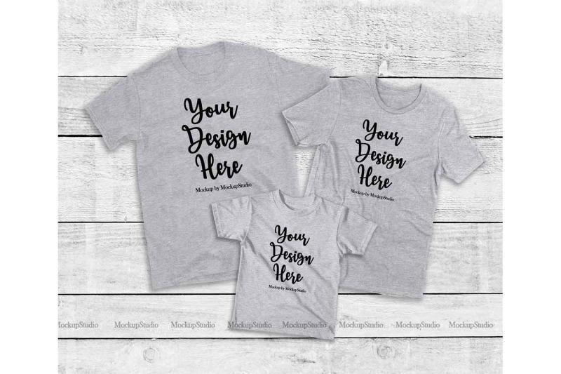 Matching Family Gray T Shirts Mockup Parents Kids Shirts By
