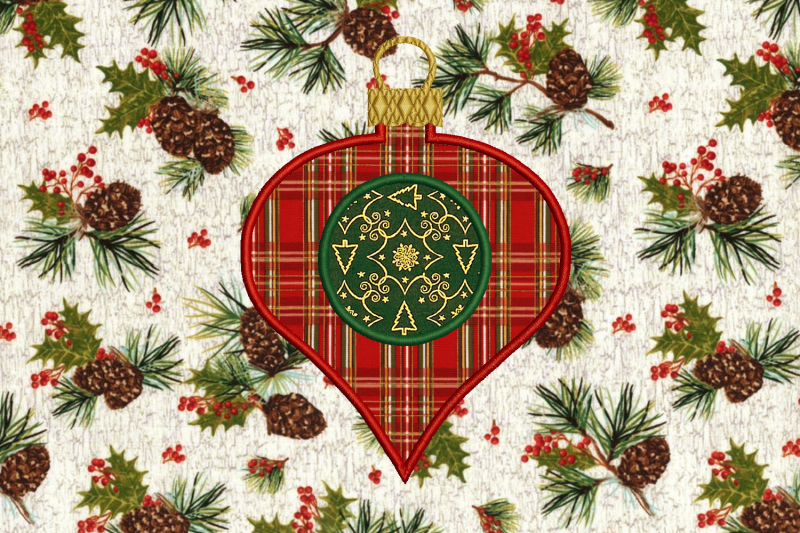 Monogram Circle Glass Onion Holiday Ornament Applique Embroidery