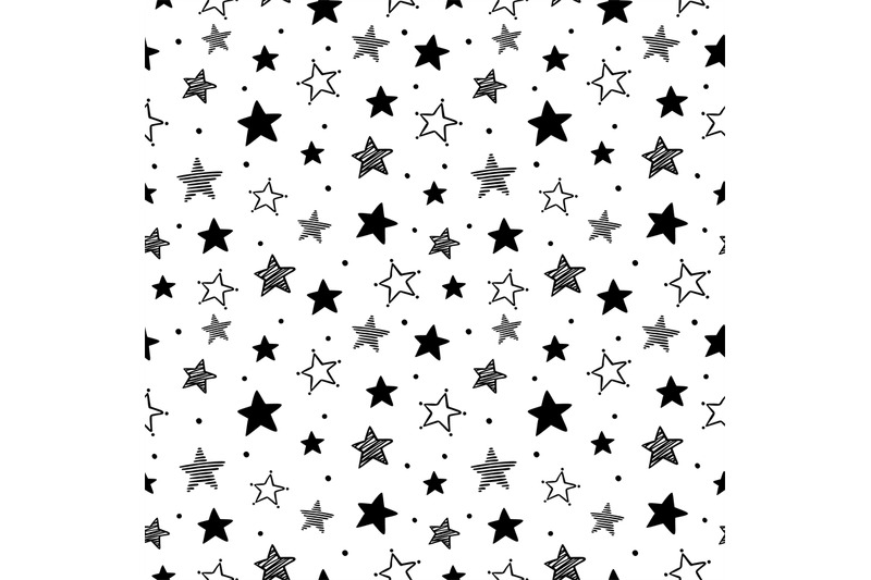 Doodle Stars Pattern Seamless Star Ornaments Night Sky And