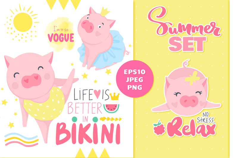 Funny Summer Pigs & quotes! By KVITKA | TheHungryJPEG.com