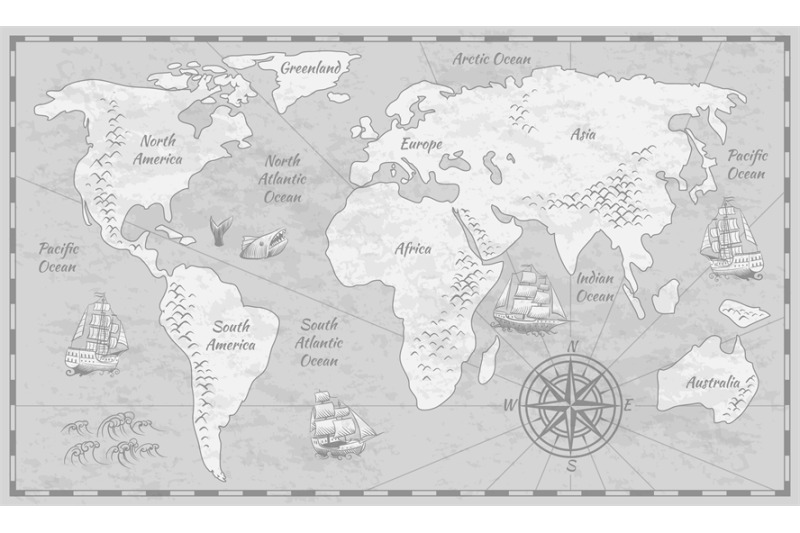 Gray World Map Earth Antiquity Paper Map With Continents Ocean