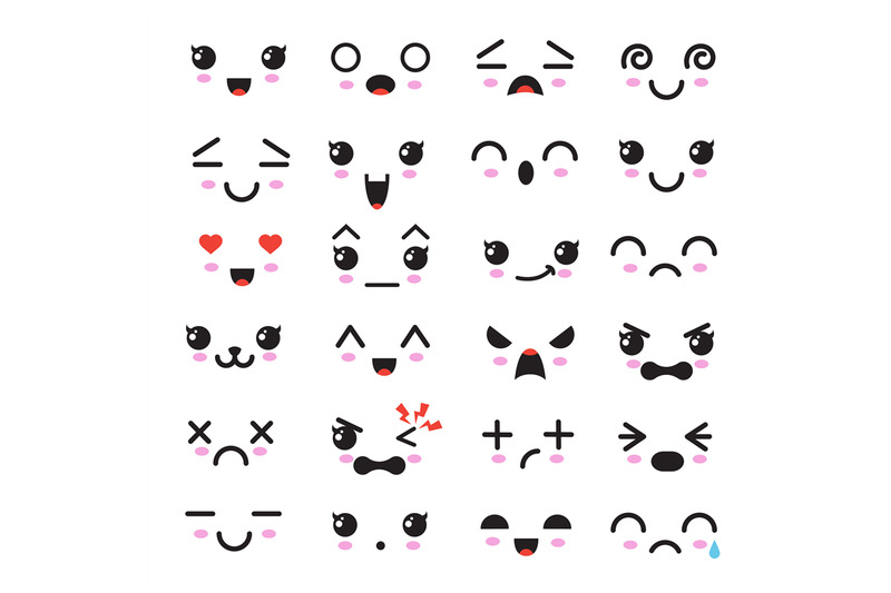 Kawaii Cute Faces Manga Style Eyes And Mouths Funny Cartoon