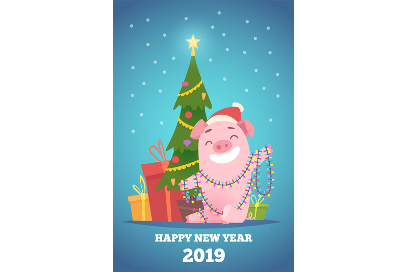 Cartoon Pig New Year Background Winter Xmas Illustration With