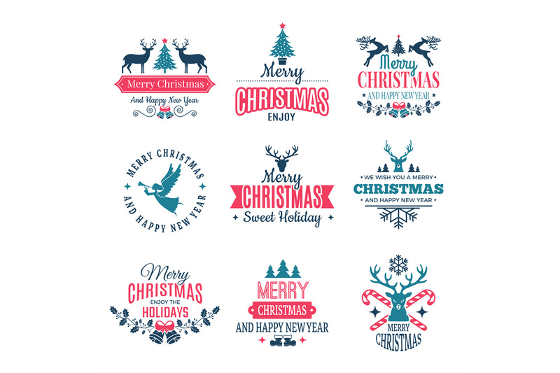 Christmas Elements Holiday Labels Borders Badges And Vintage New