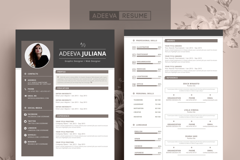 Modern Resume Template Julianna By AdeevaResume ...