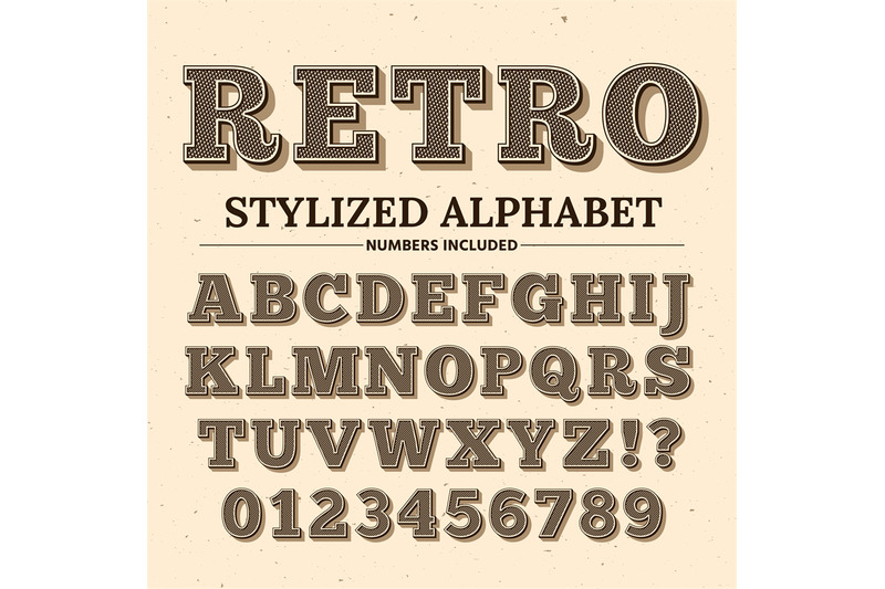 Vintage Typography Vector Font Decorative Retro Alphabet Old