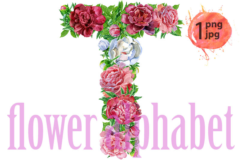 Letter T Of Watercolor Flowers By Watercolor Fantasies