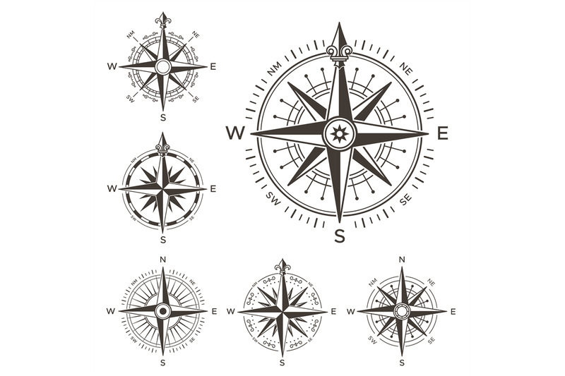 Retro Nautical Compass Vintage Rose Of Wind For Sea World Map