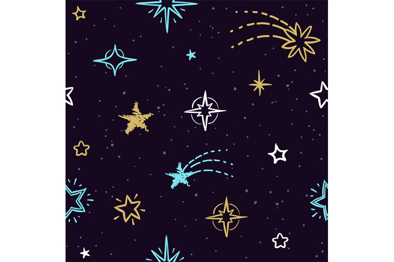 Sky Vector Seamless Pattern With Doodle Stars Starry Background