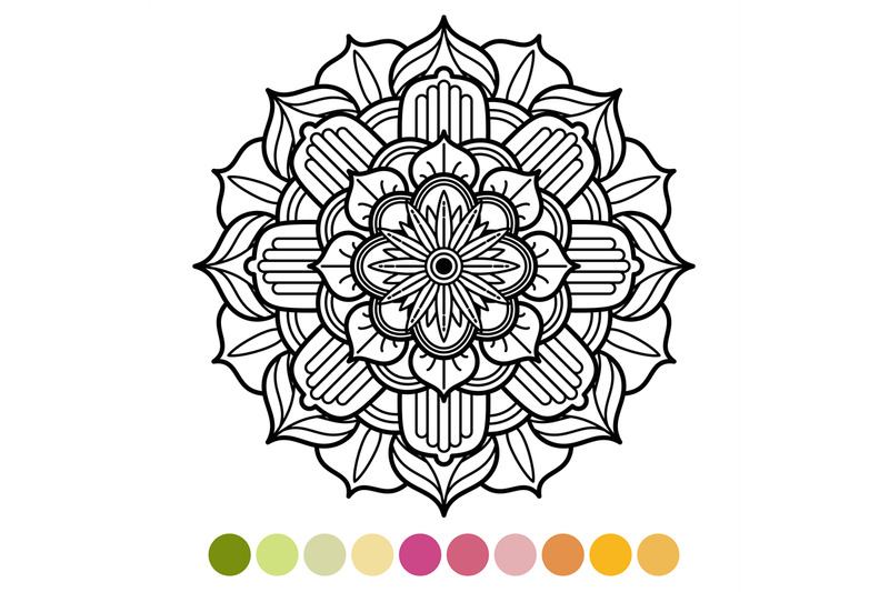 Antistress Mandala Coloring Page With Colors Sample By Microvector Thehungryjpeg Com
