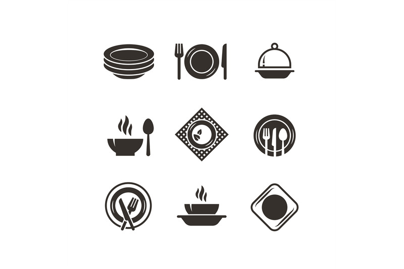 Kitchen Plates And Cutlery Black Silhouette Icons Chef And