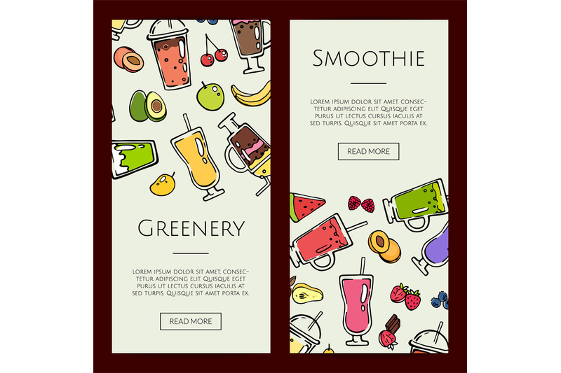 Vector doodle smoothie web banner templates illustration By