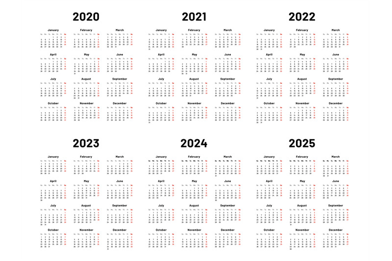 Calendar grid. 2020 2021 and 2022 yearly calendars. 2023 ...