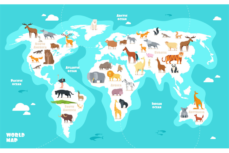 World Map With Animals Earth Discovery Funny Kids Geography