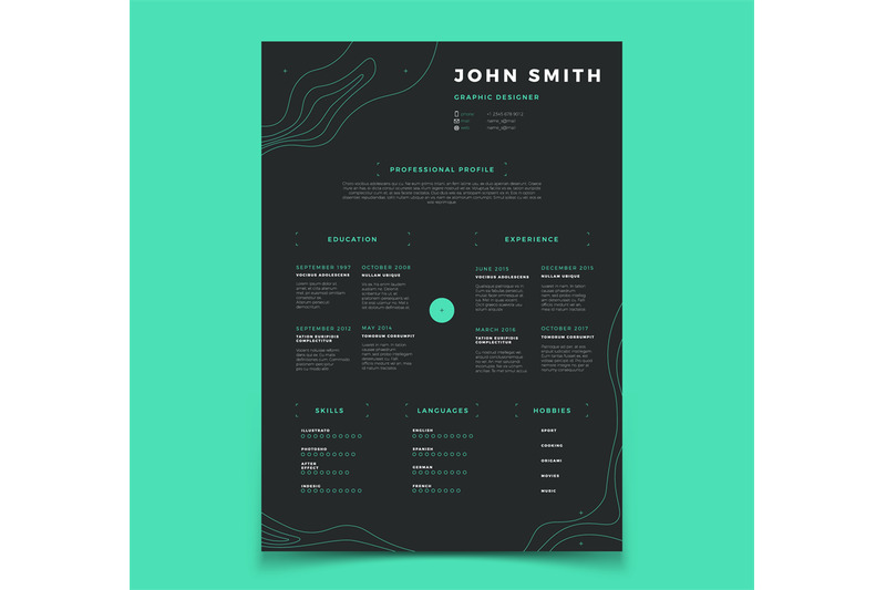 Curriculum Vitae Template Cv Resume For Placeholder Company