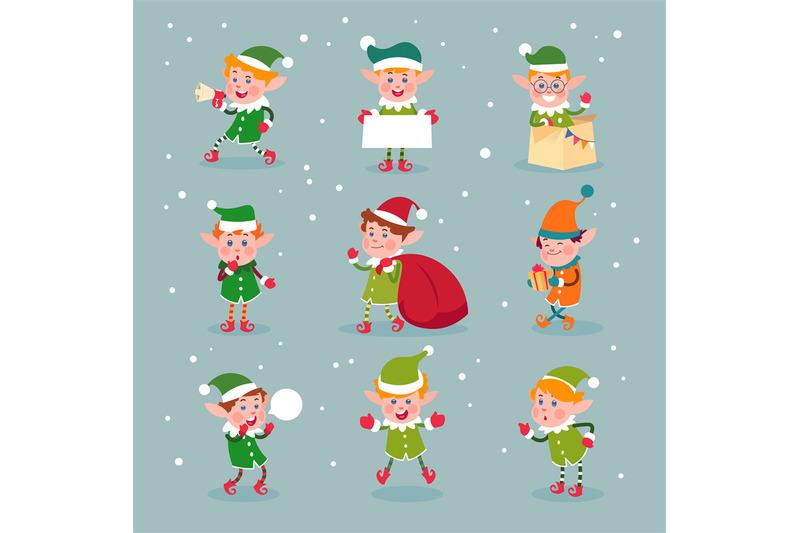 Elf Cartoon Santa Claus Helpers Dwarf Christmas Vector Fun Elves