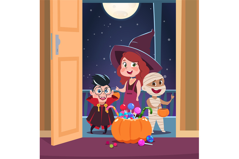 Halloween Trick Or Treat Background Kids In Halloween Costumes