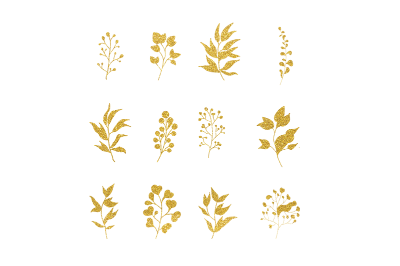 Christmas Png Gold Leaves Digital Paper By Artistic