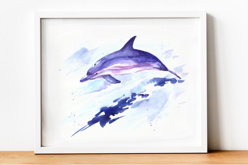 Watercolor Jumping Dolphin Print & Clip Art By TatiBordiu Watercolor  TheHungryJPEG.com