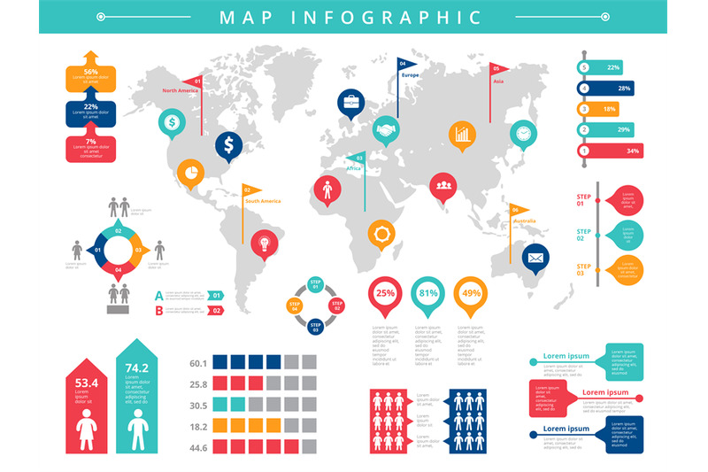 World Infographic Business Presentation People Population Vector