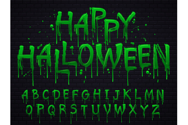 Green slime font  Halloween toxic waste letters, scary