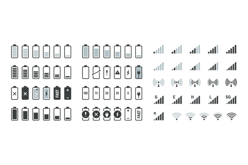 Battery Icons Black Charge Level Gsm And Wifi Signal Strength