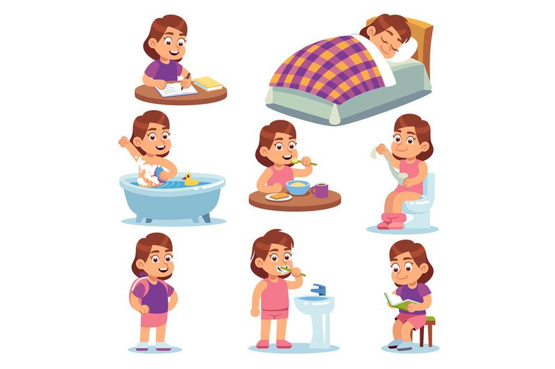 Girl Daily Activities Children Life Morning Brushing Teeth