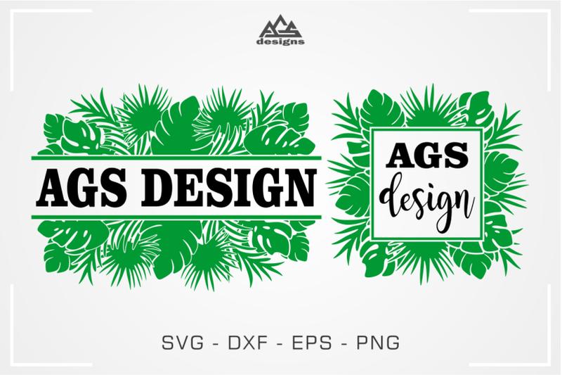 Tropical Leaf Frame Svg Design By Agsdesign Thehungryjpeg Com