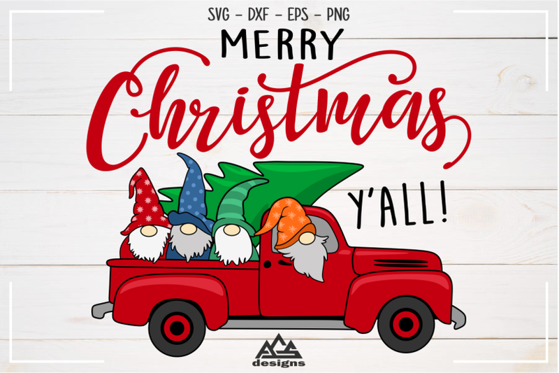 Gnome Christmas Red Truck Svg Design By Agsdesign Thehungryjpeg Com
