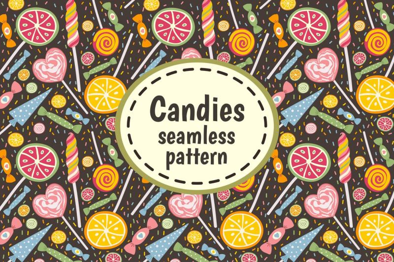 Candies And Sweets Seamless Pattern By Juliyas Art