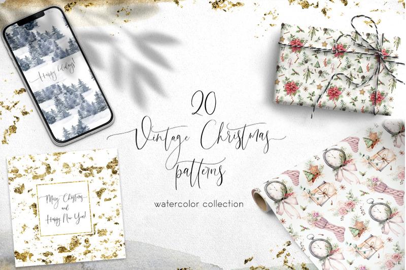 20 Vintage Christmas Patterns Watercolor Bundle By Yuliya