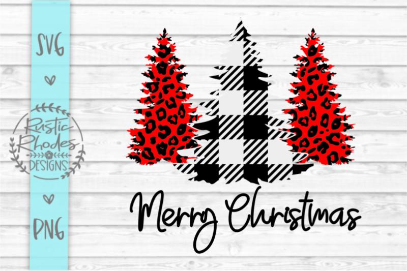 Merry Christmas Buffalo Plaid Cheetah Print Christmas Trees Svg