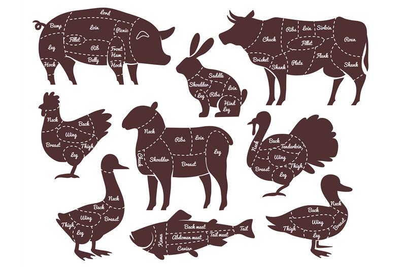Butcher Diagrams Cutting Lines Different Parts Domestic Farm