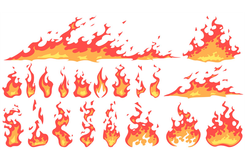 Cartoon Fire Flames Fireball Flame Red Hot Fire And Campfire Fiery S By Tartila Thehungryjpeg Com Set of camp fire sprites for animation. cartoon fire flames fireball flame