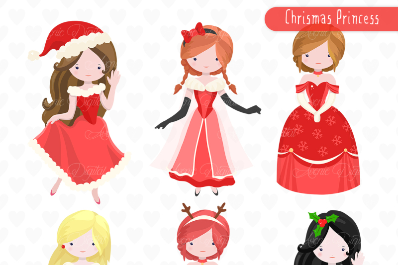 Christmas Princess Clipart Vectors By Aveniedigital