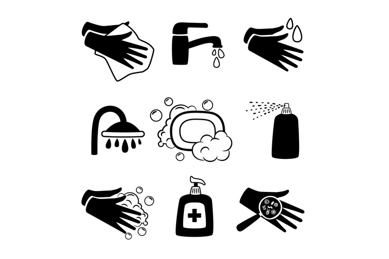 Hygiene Black Icons Antiseptic Cream And Hands Washing