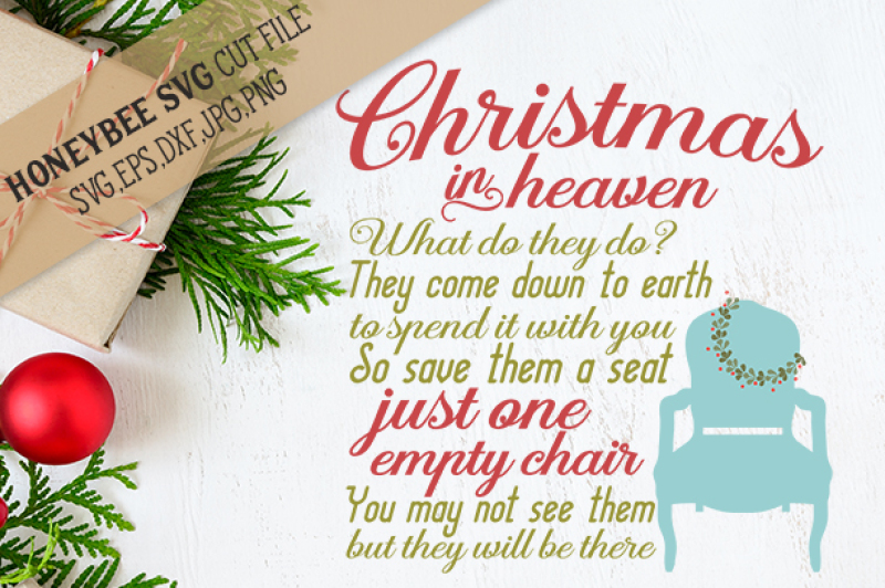 Christmas In Heaven Chair By Honeybee Svg Thehungryjpeg Com