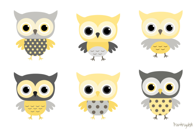 Baby Boy Owls Clipart Yellow And Grey Owl Clip Art Set Baby Shower Cute Owls By Pravokrugulnik Thehungryjpeg Com