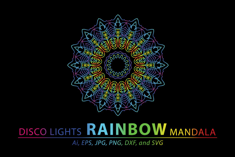 Mandala Rainbow By Red Sugar Design Thehungryjpeg Com
